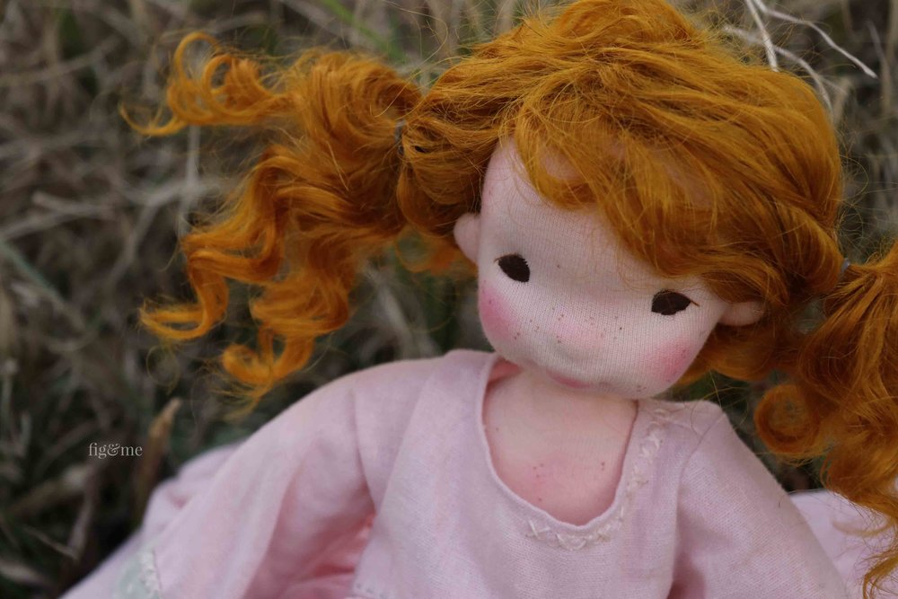 Orla, by Fig and Me. A natural fiber art doll.