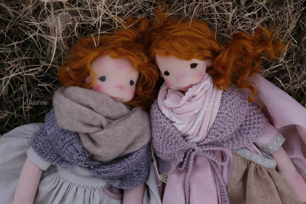 My shabby scoundrels: Maggie and Orla. Art dolls by Fig and Me.