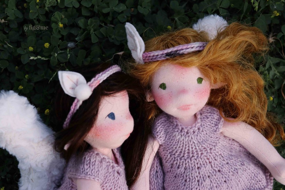 Annke and Beileag, two art dolls by Fig and Me.