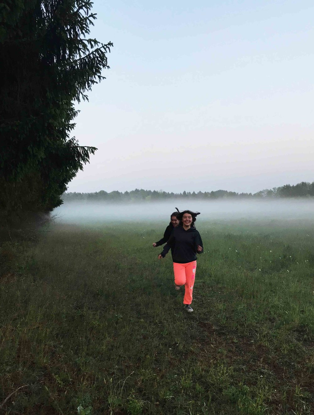 My girls running through the misty meadows.