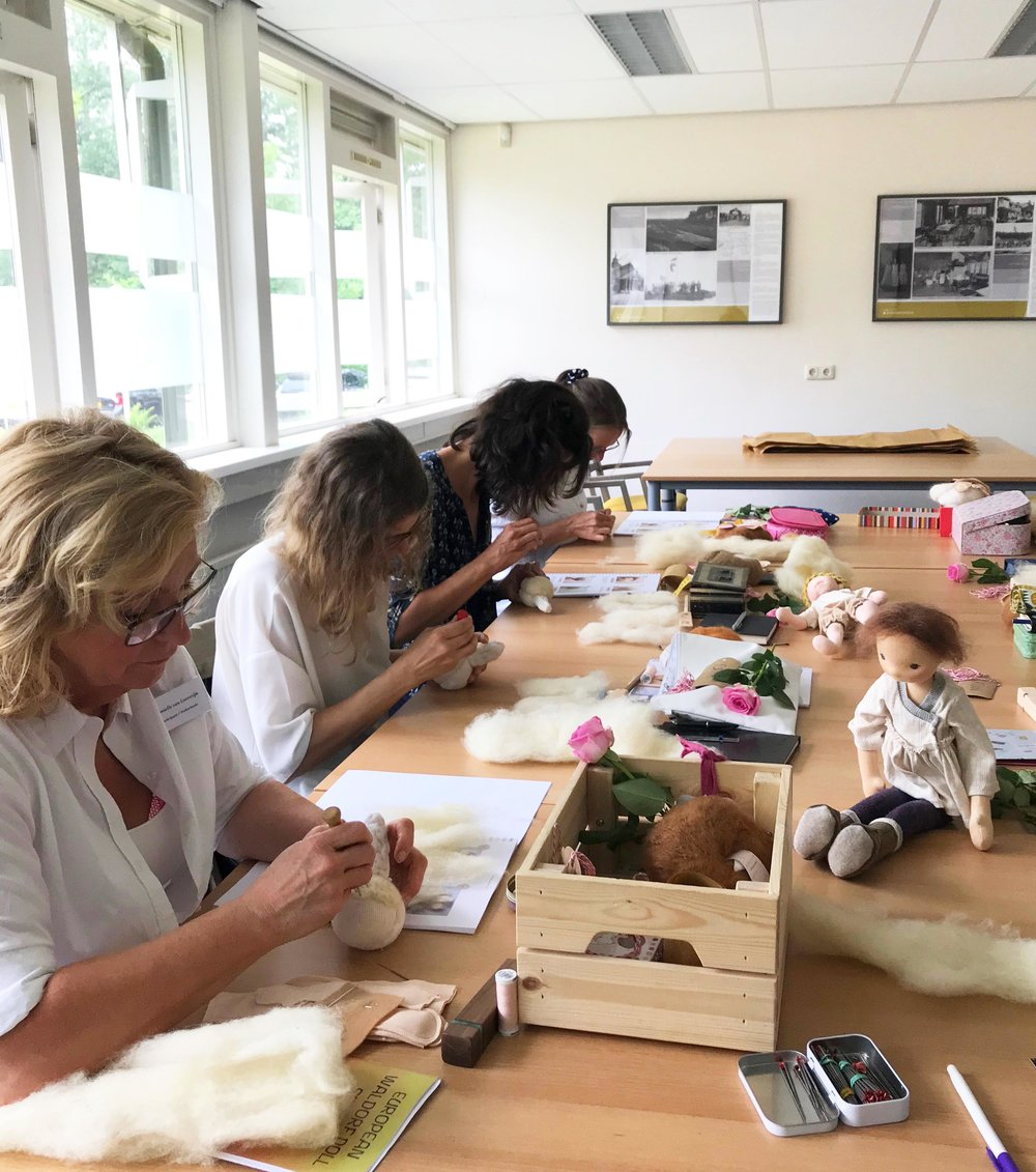 Making a Natural Fiber Art doll, Fig and Me Workshop. European Waldorf Doll Seminar.