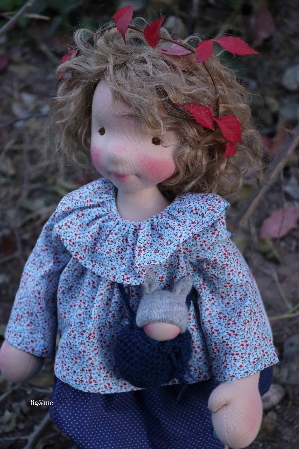 Natural fiber art doll, Thora. By Fig and Me.