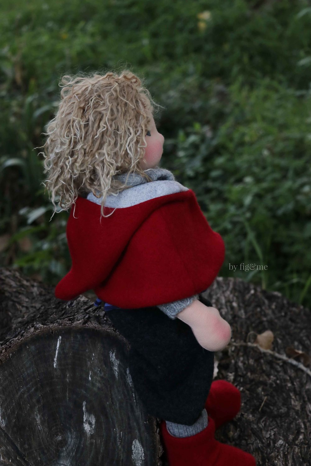 Amos, wearing his cashmere hooded cape. A natural fiber art doll by Fig and Me.