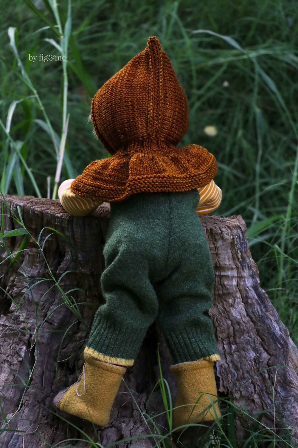 Wulfric, climbing tree stumps. Art doll made by Fig and Me.