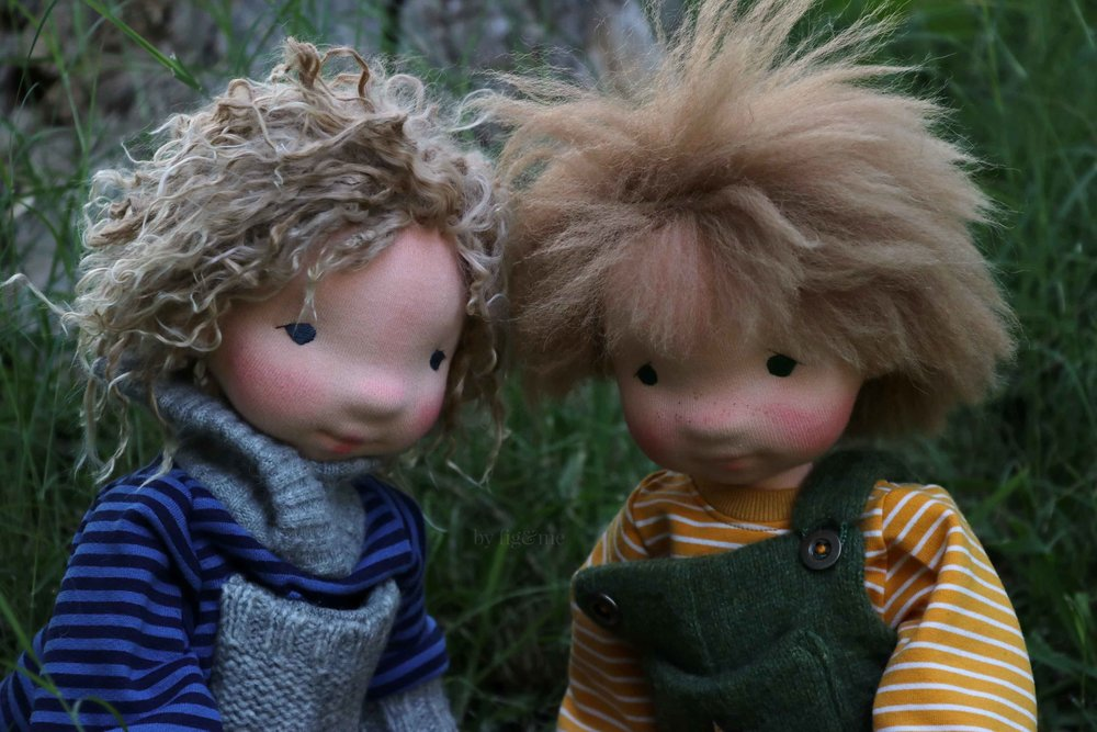Amos and Wulfric, two natural fiber art dolls by Fig and Me.