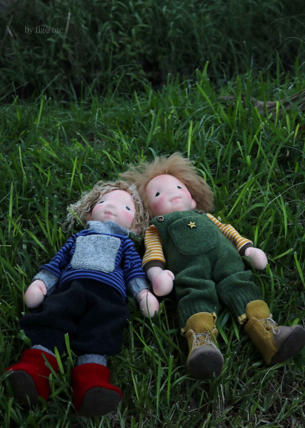 Two natural dolls in the garden, Amos and Wulfric, by Fig and Me.