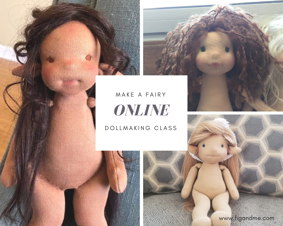 Some of the lovely doll fairies created during my online dollmaking class, via Fig and Me.