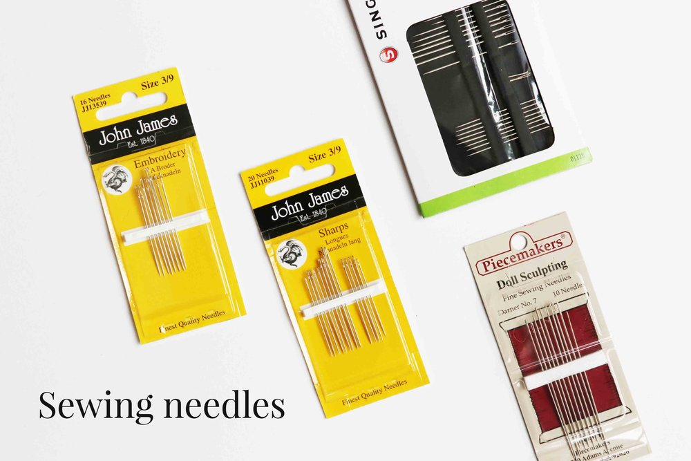 Sewing needles to make dolls, via Fig and me