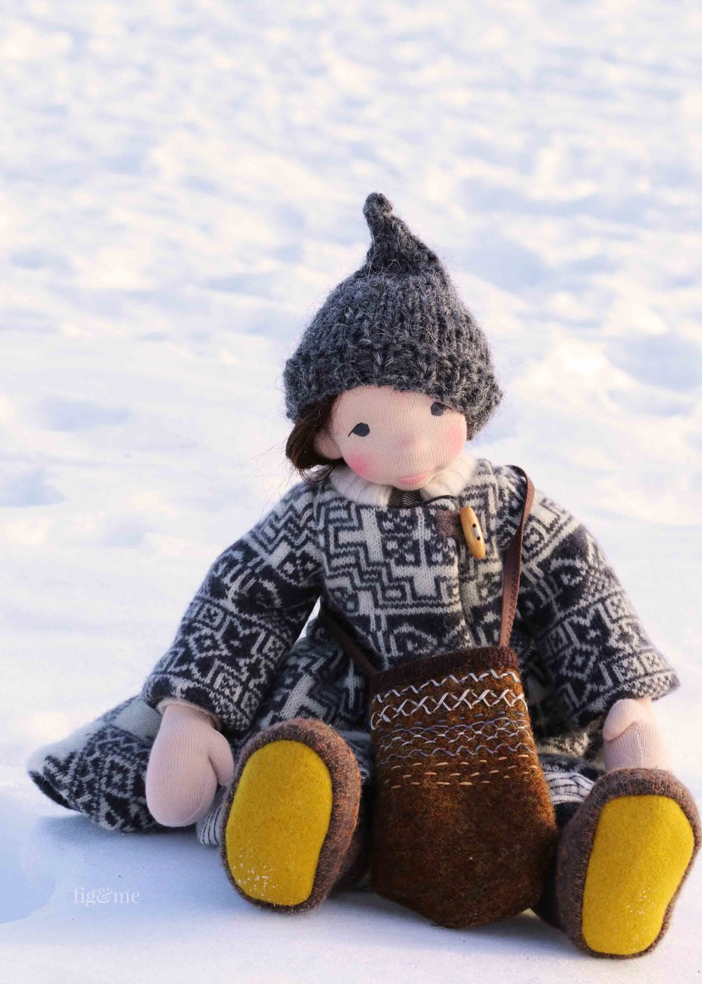 Snow, art doll by Fig and Me. Sculpted in wool and dressed in her wintry attire.