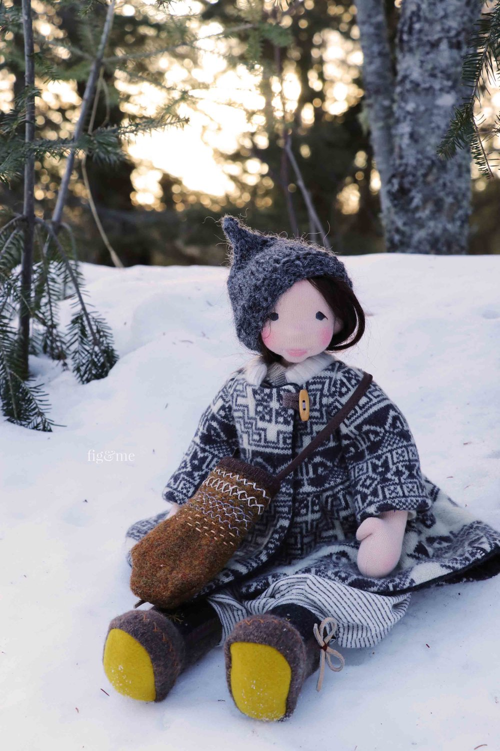 Snow, a forest dweller doll child, by Fig and Me