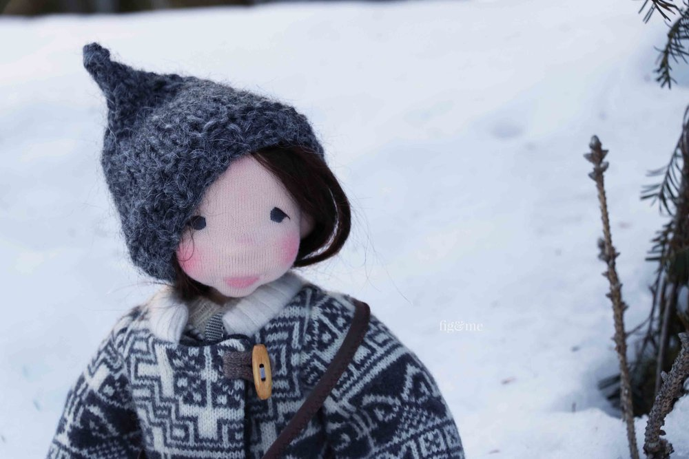 Snow, a natural fiber art doll by Fig and Me
