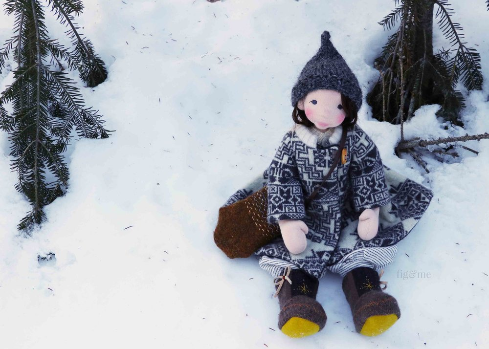 Snow, a natural fiber art doll by Fig and Me.