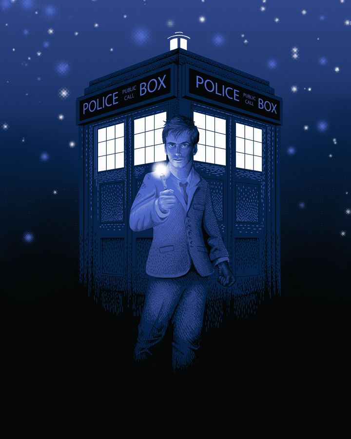 5 colors, 16x20, limited edition print done for Galerie F.  This print is part of a release celebrating of the 50th anniversary of the premiere of the Dr. Who.  Mine features my favorite doctor, David Tennant.  You can snag one starting on November 25th at Galerie F's website.