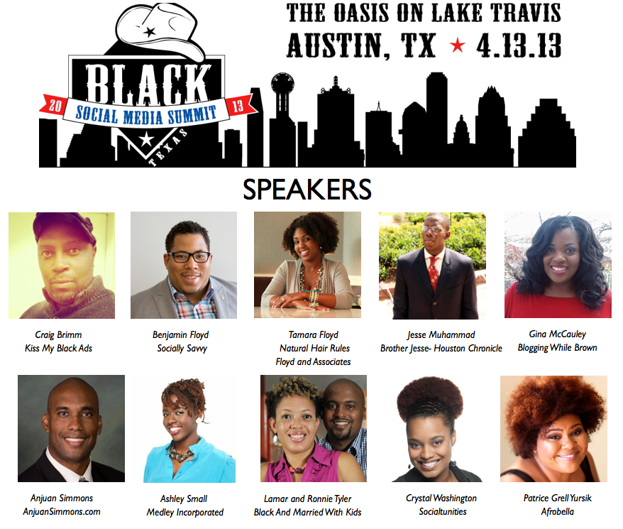 Speakers for the 2013 Black Social Media Summit.