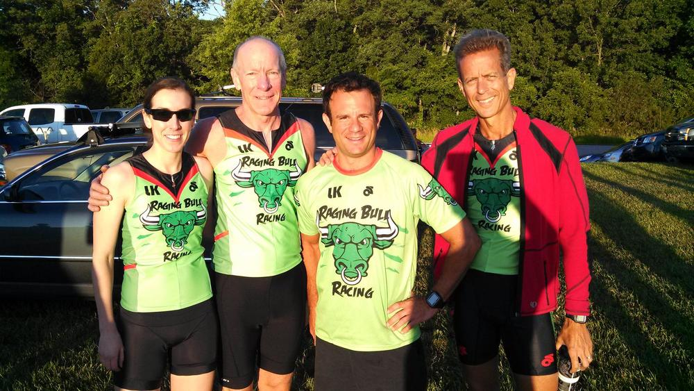 Raging Bulls Pat Donnelly, Steve Cosentino and John Riley with Pat's daughter Mary who took 4th in her age group.