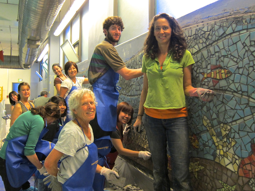 Grouting with mosaic participants at UCSF.