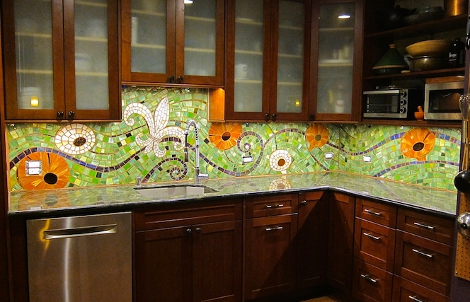 Nola Backsplash - stained glass, mirror