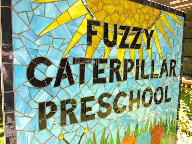 Detail: Fuzzy Caterpillar Preschool sign - Client designed, 3'w x 3'h