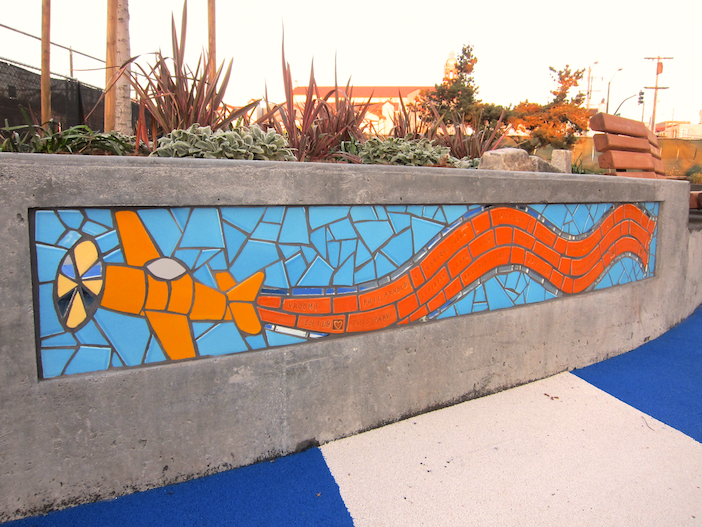 Flight Seat Walls: Honors donors to Larsen Park renovation with custom tiles