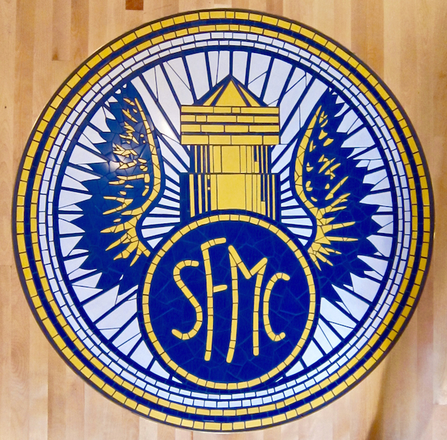 San Francisco Motorcycle Club logo floor inset, ceramic tile, 4' diameter