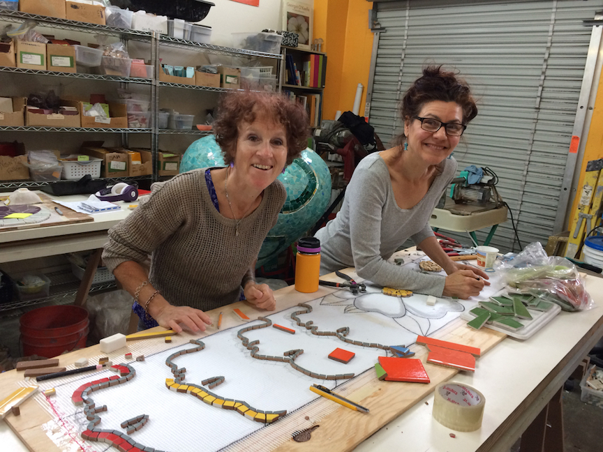 Carol Bevilacqua and Sophia Othman, mosaic artists extraordinaire rocking it