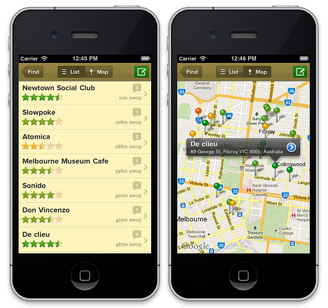 Decaf Sucks App: List and Map Screens