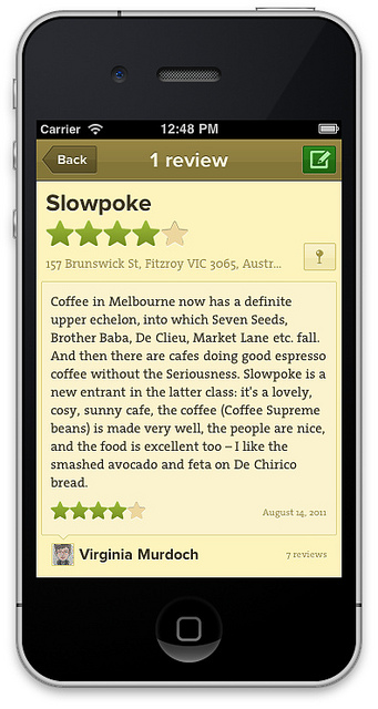 Decaf Sucks App: Café Screen