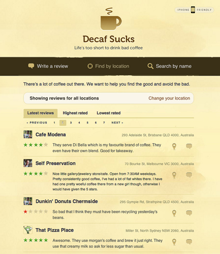 Screenshot of Decaf Sucks