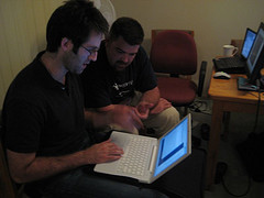 Matt and I working on migrating an app to Rails 2.