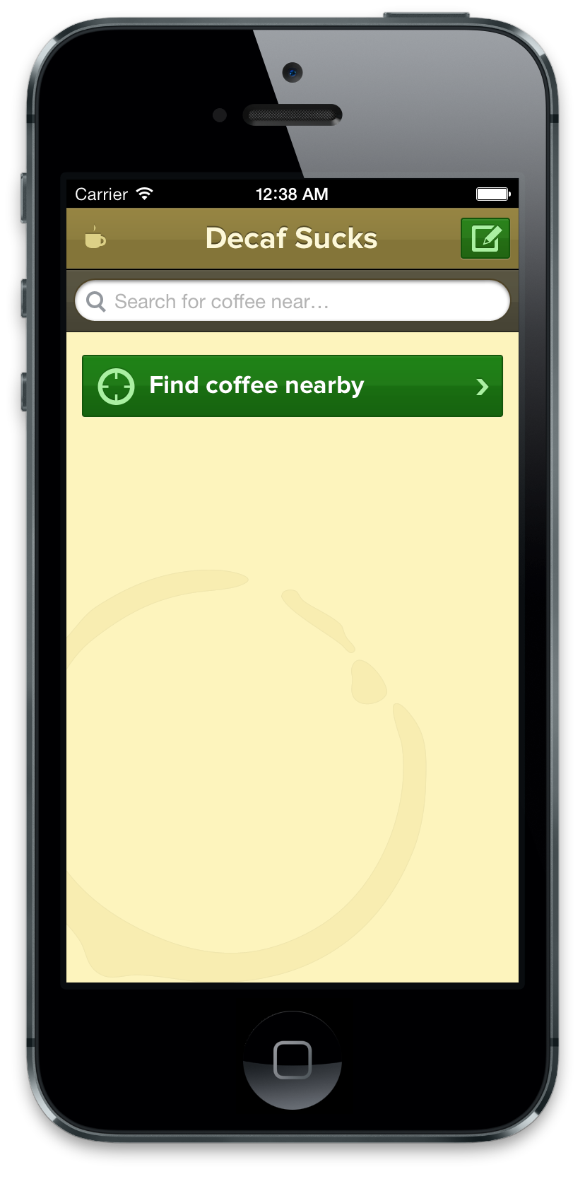 The empty Decaf Sucks first screen