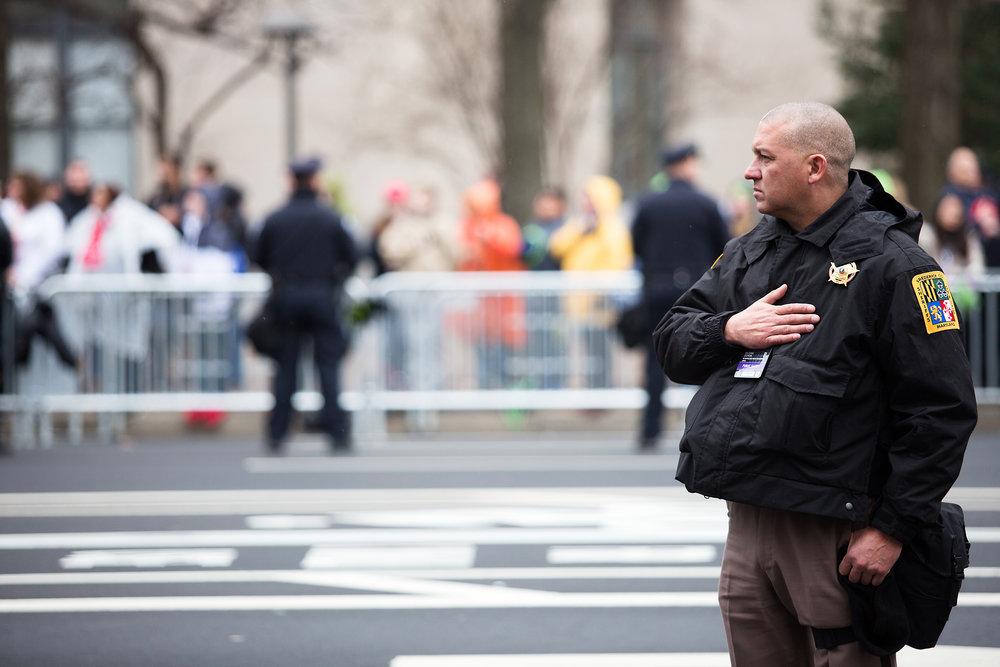 Law enforcement lined Pennsylvania Avenue in Washington D.C. on Jan.20, 2017.