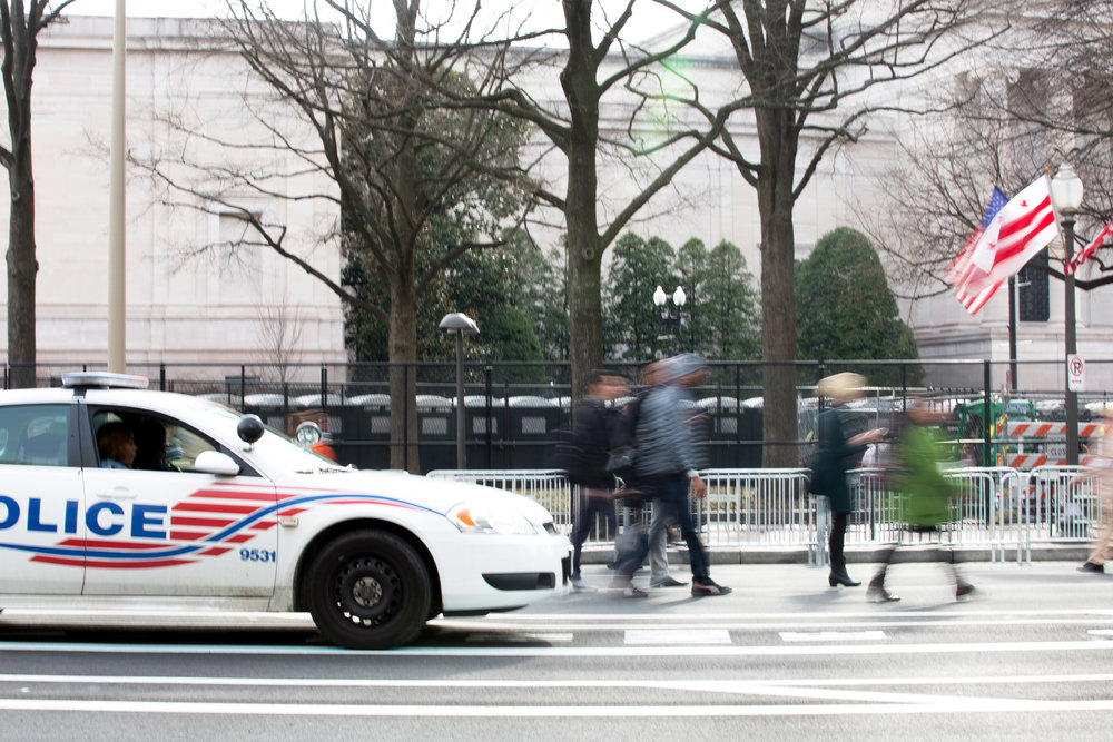 Hundreds of people walked freely up and down Pennsylvania Avenue on Jan. 19, 2017, the day before the 2017 Presidential Inauguration. On Inauguration Day, there would be more security checkpoints along the avenue.