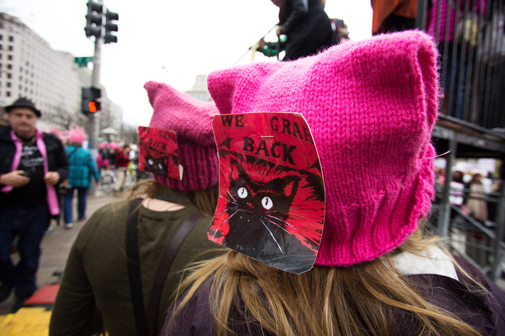 """Pussy hats"" at the 2017 Women's March in Washington D.C."