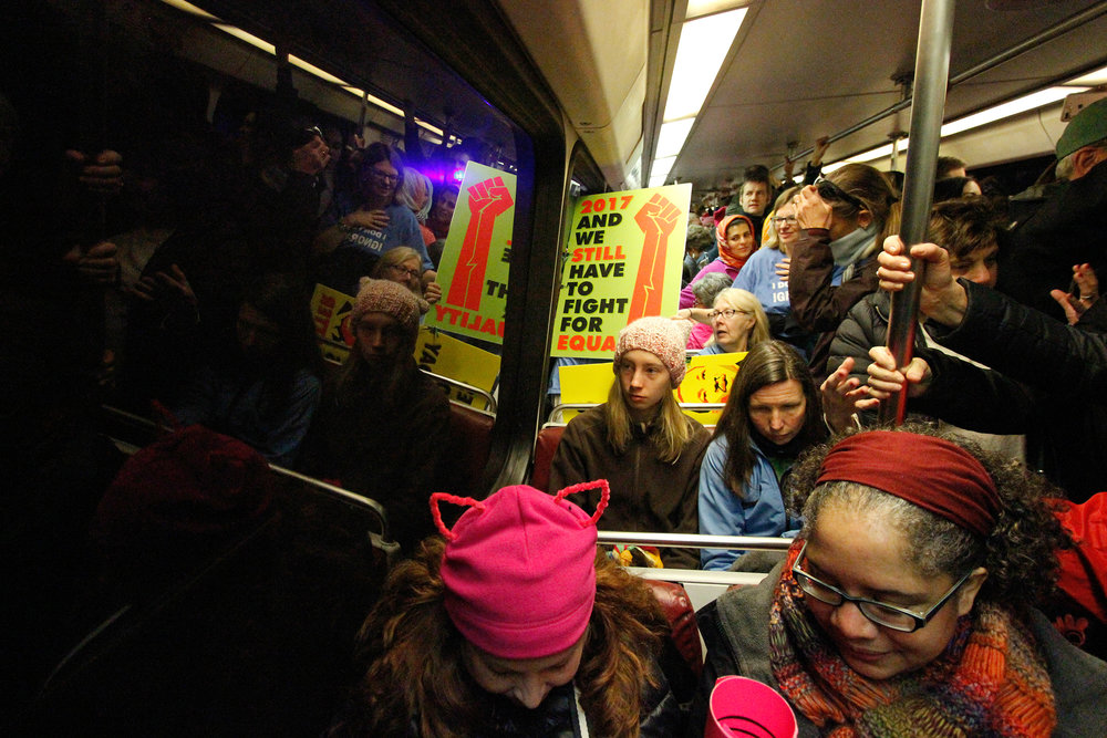 The Red Line of the metro in Washington D.C. is packed full of people heading to the National Mall to participate in the 2017 Million Women's March.