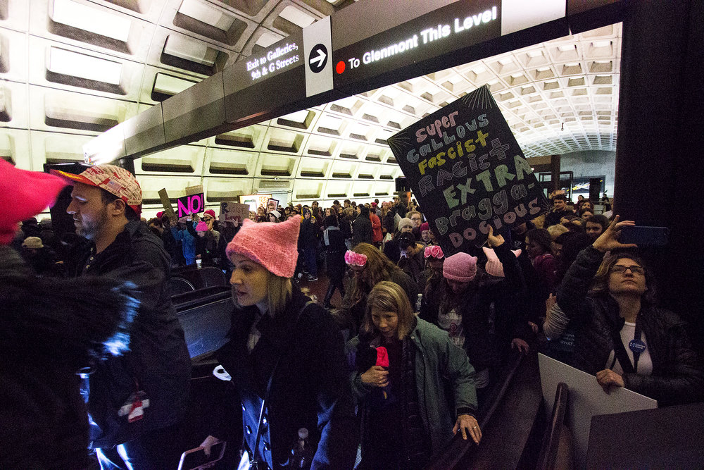 Protesters headed into the city for the 2017 Women's March in Washington D.C.
