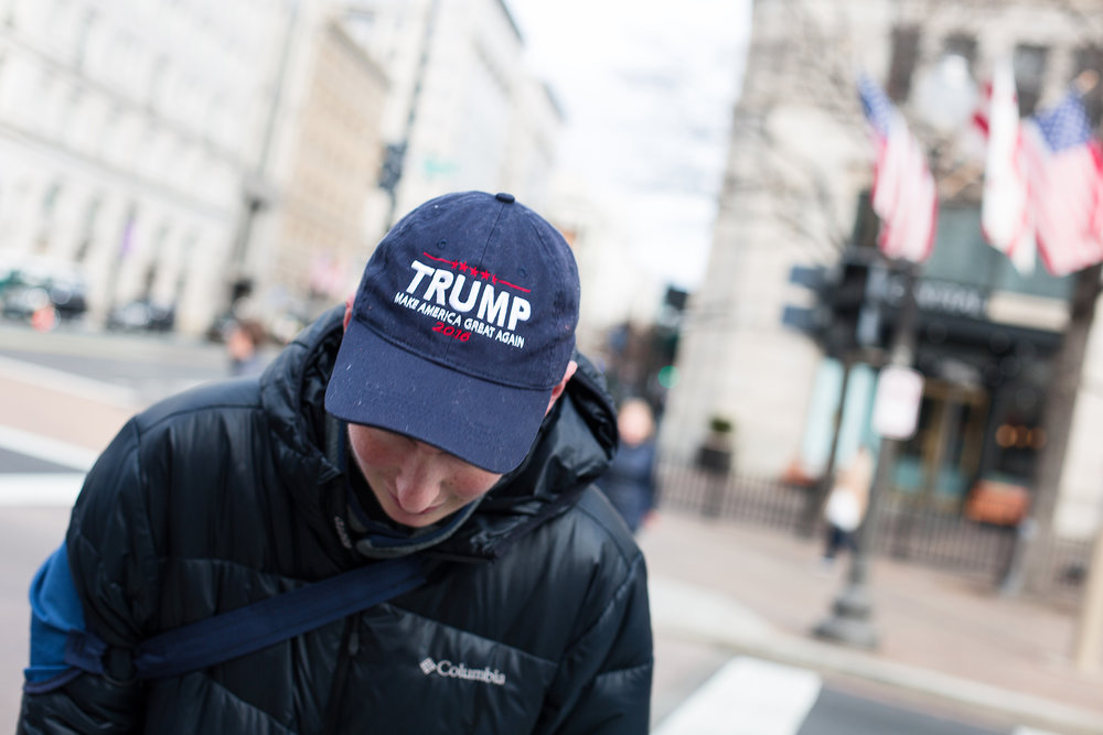 Bailey Zellers, 20, came from Portland, Oregon, to show then President-Elect Donald Trump his support on Inauguration Day. One of the many things Zellers likes about Trump: he tells it how it is.