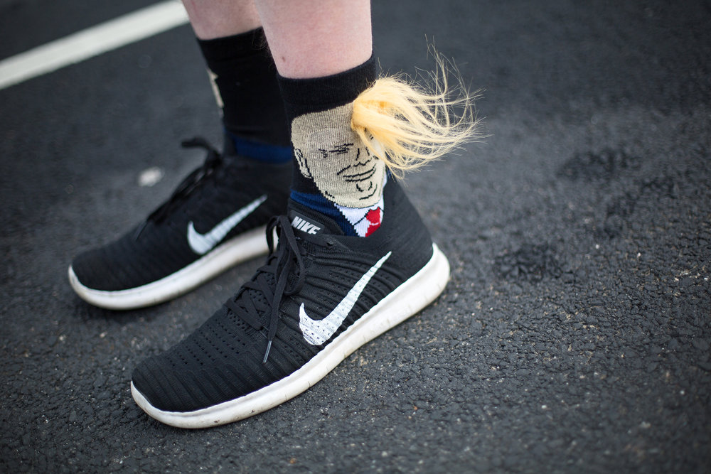 A Trump supporter sported some eye-catching socks while walking along Pennsylvania Ave in Washington D.C. on January 19, 2017.
