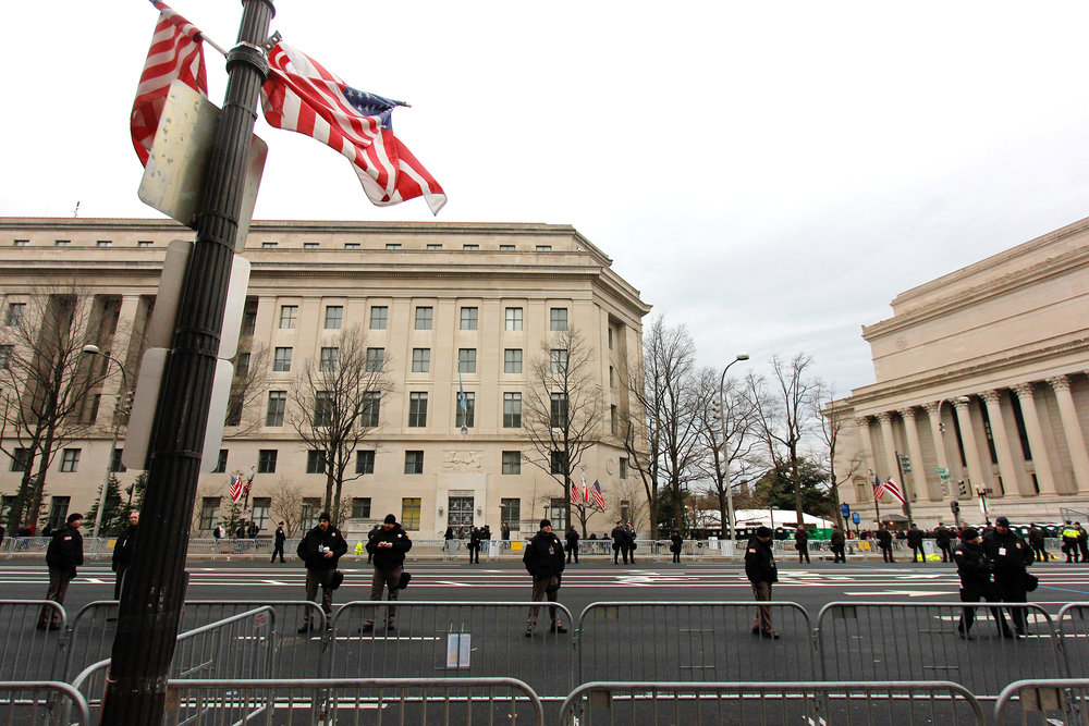 Law enforcement lined Pennsylvania Avenue in Washington D.C. on Jan. 20, 2017.