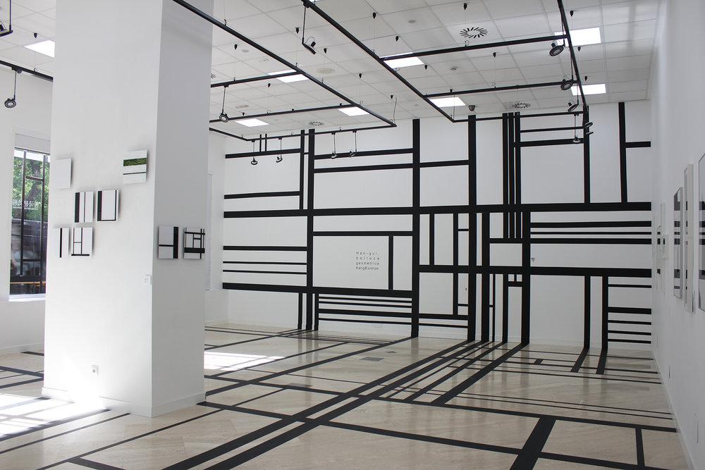 1.EunHyeKang_Han-gul, Belleza Geometrica_Gaffer tape_Site-specific installation_2016.JPG