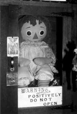 This is the real supposedly haunted Annabelle doll. This is decidedly not how it looks in the movie. Maybe that opening would've been better if it did. (photo from http://efeyas.hubpages.com/hub/Annabelle-The-Possessed-Doll-A-Terrifying-Case)