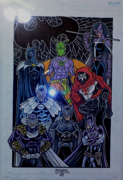 Batpeople and Anti-Batpeople (Clockwise from top left: Batman One Million, Killer Moth, Huntress, The Hood, Onomatopoeia, The Wrath, Knight, Prometheus, and Owlman)  Artist: Burke