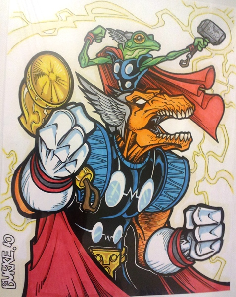 Thunder Twins (in descending size): Beta Ray Bill & Throg  Artist: Burke