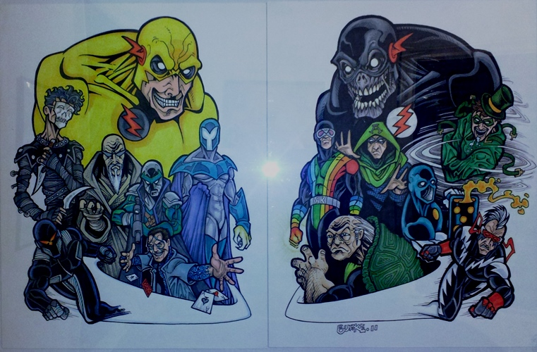 The Many Rogues of Flash (from left): Garrick Clone, Murmur, Zoom, Cicada, Plunder, Double Down, and Spin; Rainbow Raider, The Turtle, Black Flash, Dr. Alchemy, The Suit, The Top, and Zum)   Artist: Burke