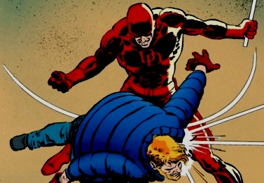 Daredevil smacking Matt Murdock. A pretty fitting representation of how Murdock's life works. (image from manwithoutfear.com)