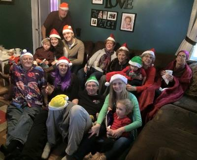 My Aunt Claire, top right corner, and the rest of the Burns-Thompson side of my family celebrate Christmas in 2014. (photo from my cousin Molly although she's in it so I have no idea who took it.)