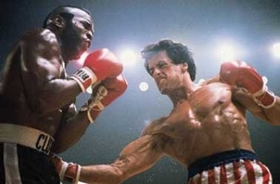Watching the Rocky franchise can be like watching the evolving ideal for male physicality. Compare him here to him in Rocky 2. Note the physique changes, the loss of body hair, etc etc. Anyway, the other guy's name is Clubber Lang. (photo from amazon.com)