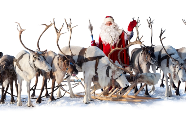 Oh look, it is Santa and his reindeer and his sleigh and his spear. Wait...his spear? Why is Santa armed?! (phyllisalberici.com)
