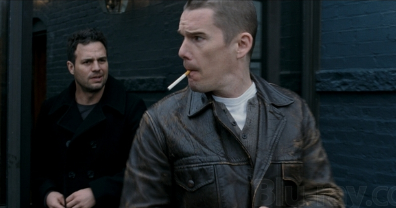 You just know noted environmentalist Mark Ruffalo is totally lecturing Ethan Hawke about the harmful effects of cigarette smoke on the environment here. (blu-ray.com)