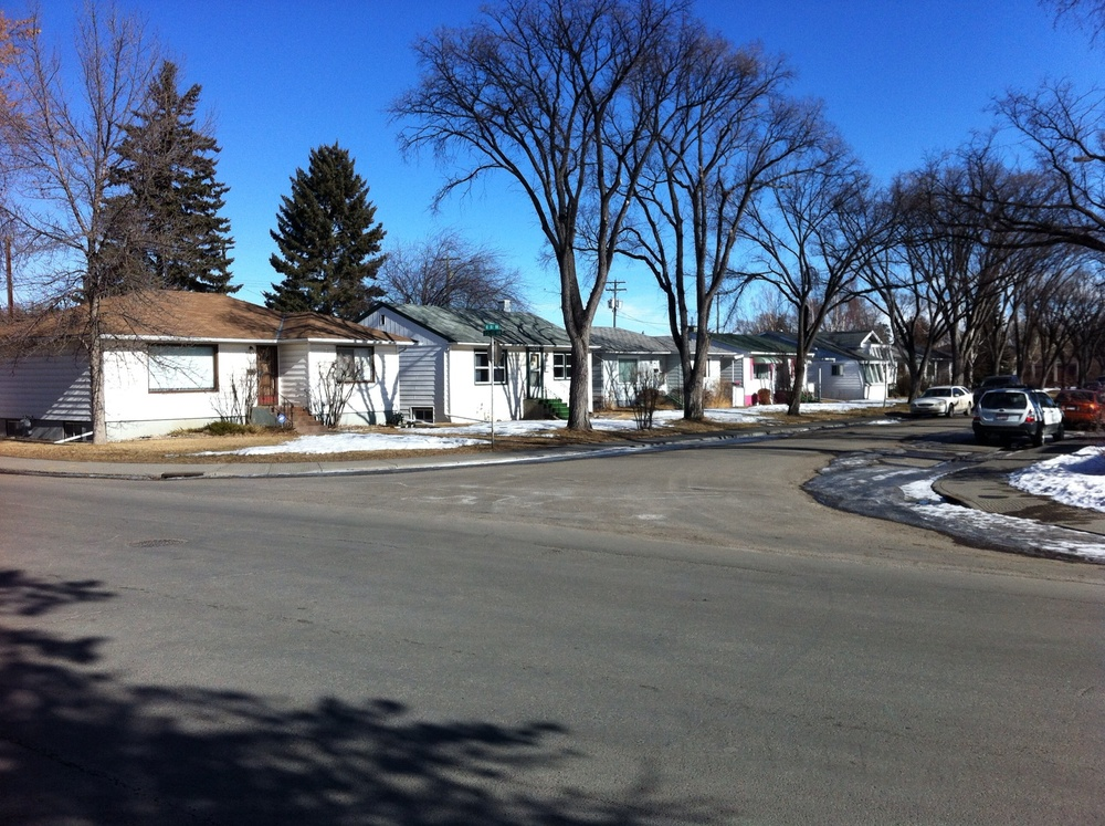 Row of original bungalows from late '50s when community first developed.