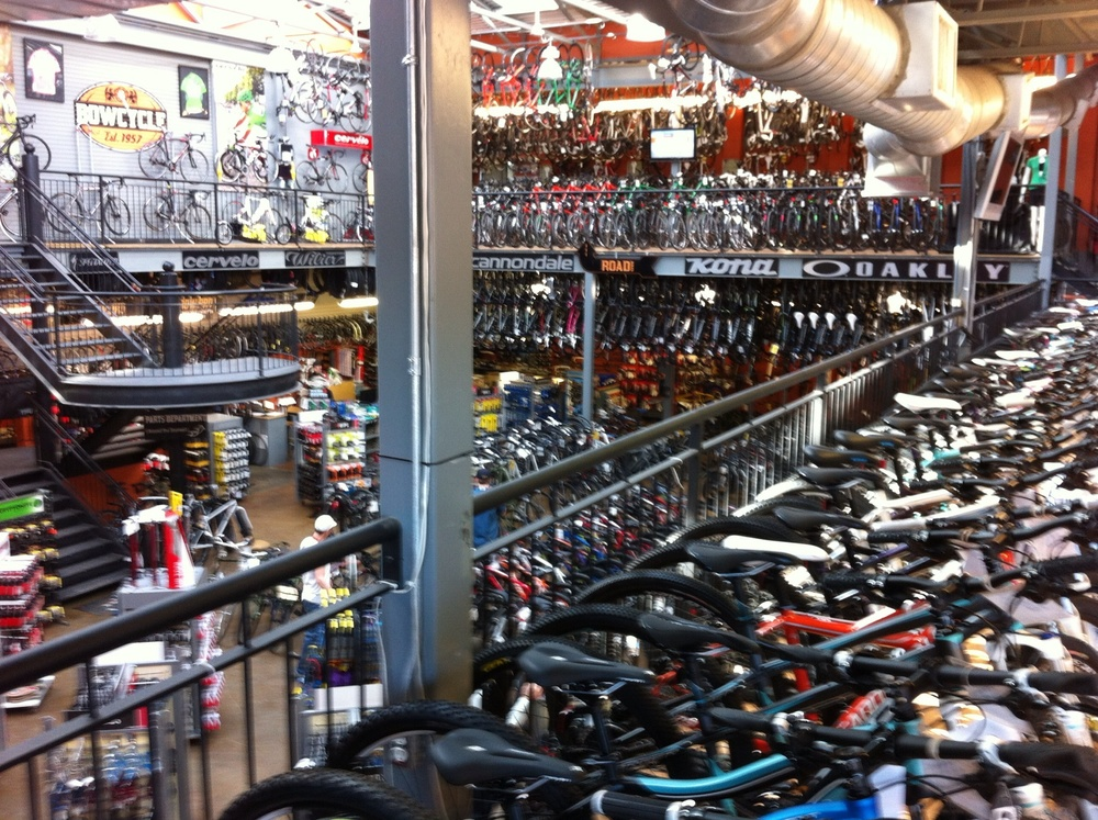 Thousands of bikes on display at Bow Cycle.